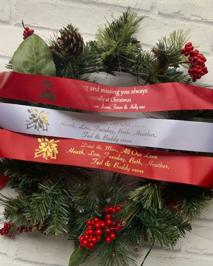Christmas Wreath  personalised ribbon